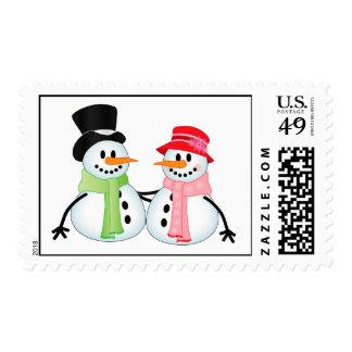 Happy Snow Couple Postage