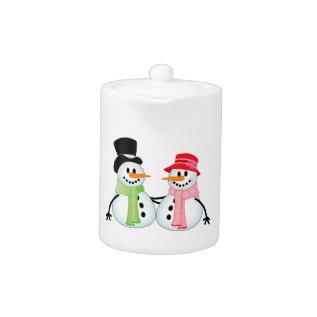Happy Snow Couple Teapot at Zazzle