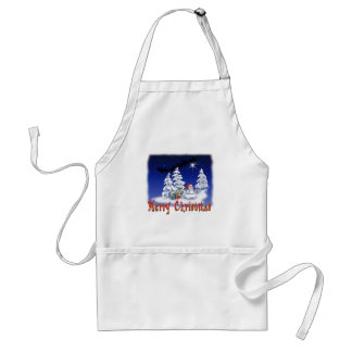 Happy snow man at Christmas time Adult Apron