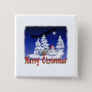 Happy snow man at Christmas time Button