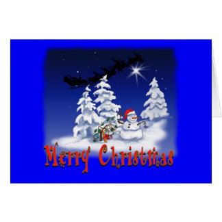 Happy snow man at Christmas time Greeting Card