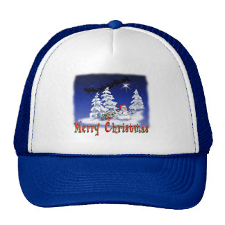 Happy snow man at Christmas time Hats