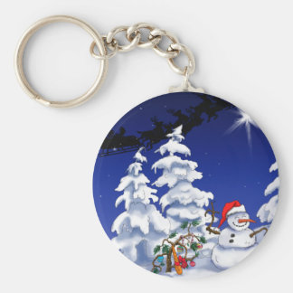 Happy snow man at Christmas time Key Chains