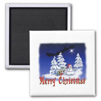 Happy snow man at Christmas time Magnet
