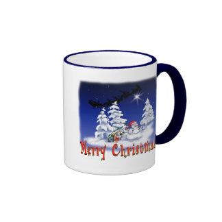 Happy snow man at Christmas time Ringer Coffee Mug