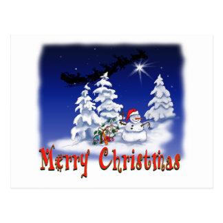 Happy snow man at Christmas time Postcard