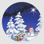Happy snow man at Christmas time Round Stickers