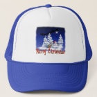Happy snow man at Christmas time Trucker Hat