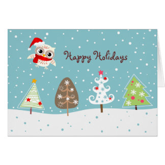Happy Snow Owl and Christmas Tree Greeting Card