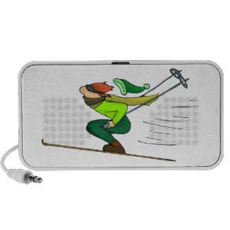 Happy Snow Skier Cartoon Doodle Laptop Speakers