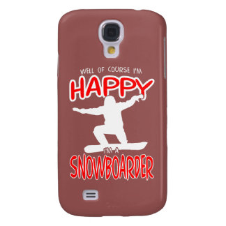 HAPPY SNOWBOARDER in WHITE Galaxy S4 Case