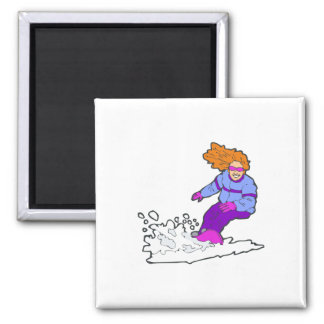 Happy Snowboarding Gal 2 Inch Square Magnet