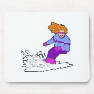 Happy Snowboarding Gal Mouse Pad
