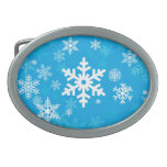 Happy Snowflakes Pattern in blue for Everyone Belt Buckle