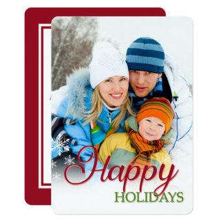 Happy Snowflakes Photo Holiday Flat Card