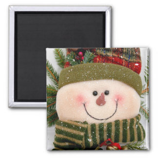 Happy Snowman 2 Inch Square Magnet