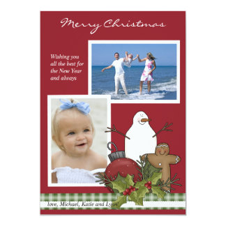 Happy Snowman 2 Photo Christmas Card