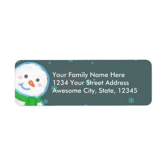 Happy Snowman address label