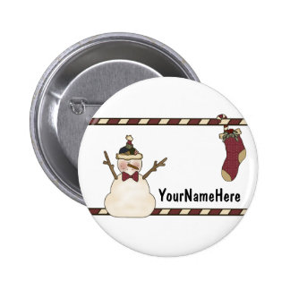 Happy Snowman And Christmas Stocking 2 Inch Round Button