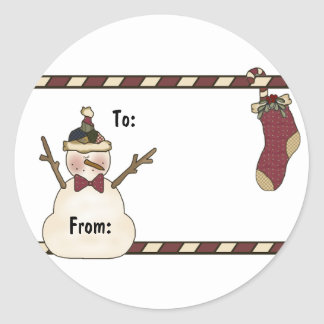 Happy Snowman And Christmas Stocking Classic Round Sticker