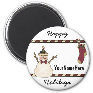Happy Snowman And Christmas Stocking Magnet