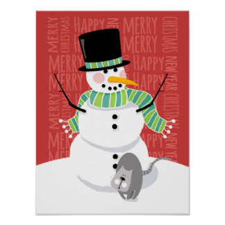 Happy Snowman and Cute Gray Cat Text Design Print
