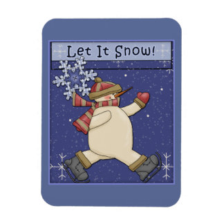 Happy Snowman and flakes Rectangular Photo Magnet