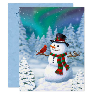 Happy Snowman and Winter Birds Card