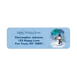 Happy Snowman and Winter Birds Label