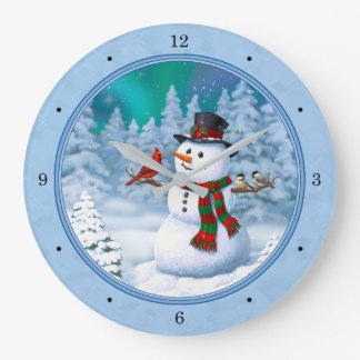 Happy Snowman and Winter Birds Large Clock