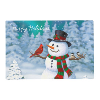 Happy Snowman and Winter Birds Placemat