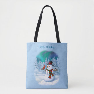 Happy Snowman and Winter Birds Tote Bag