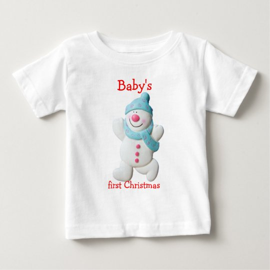 Happy snowman baby's first christmas custom baby T-Shirt