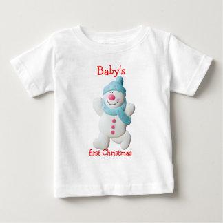 Happy snowman baby's first christmas custom tee shirt