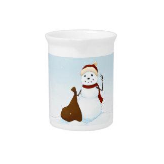 Happy snowman beverage pitcher