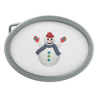 Happy snowman cartoon belt buckle