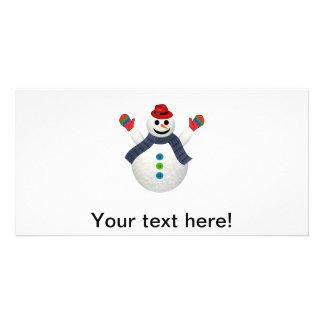 Happy snowman cartoon card