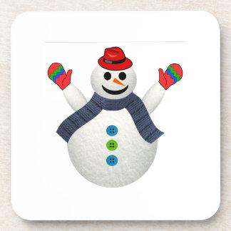 Happy snowman cartoon coaster
