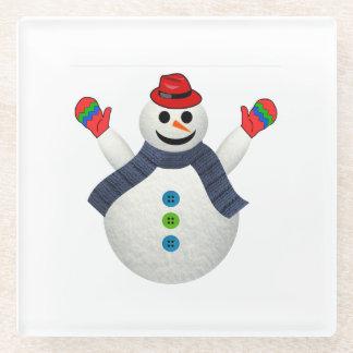 Happy snowman cartoon glass coaster