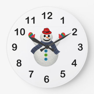 Happy snowman cartoon large clock