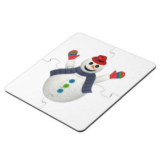 Happy snowman cartoon puzzle coaster