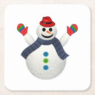 Happy snowman cartoon square paper coaster
