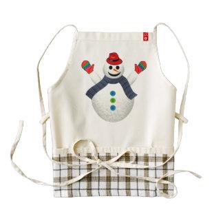 Happy snowman cartoon zazzle HEART apron