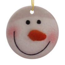 Happy Snowman Ceramic Ornament