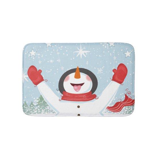 Happy Snowman Chrismas Bathmat