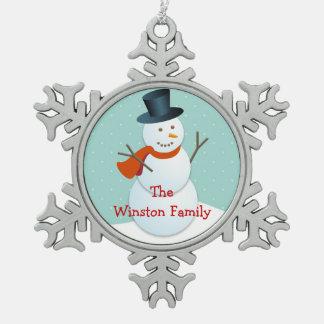 Happy snowman Chrismas greeting keepsake Snowflake Pewter Christmas Ornament