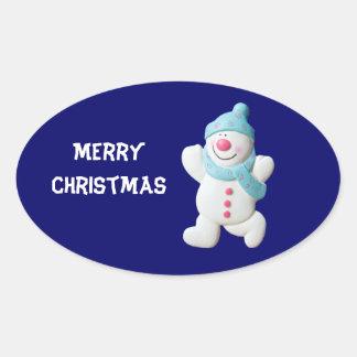 Happy Snowman Christmas custom gift stickers
