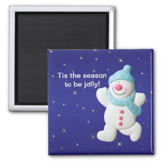 Happy Snowman Christmas fridge magnet, gift 2 Inch Square Magnet