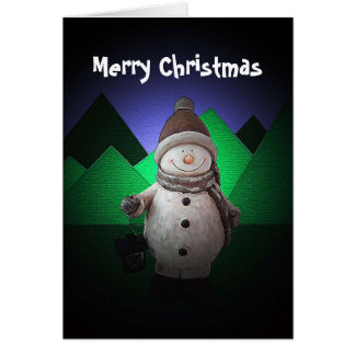 Happy Snowman Christmas Greeting Card