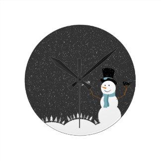 Happy Snowman - Christmas/Holiday Design Round Clock